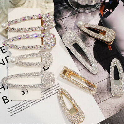 Crystal Pearl Barrette Hairpin Hair Clip Stick Snap Accessories Women Girls Gift