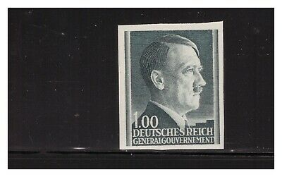 German Occupation Of Poland 1943 1Z Hitler Head Imperf Sc.n94 Very Rare Mnh Pg4