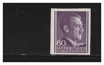 German Occupation Of Poland 1943 80G Hitler Head Imperf Sc.n90 Very Rare Mnh Pg4