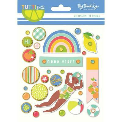 NEW My Minds Eye - Tutti Frutti Decorative Brads 28 pack