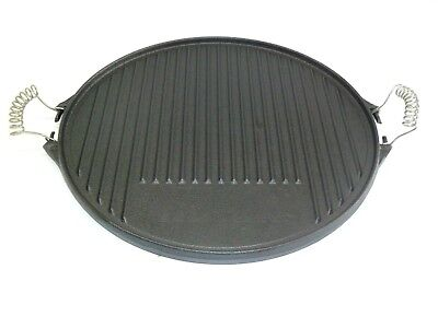 Grill Plate round Ø 43 cm from Cast Iron Grillwendeplatte both Sides Usable