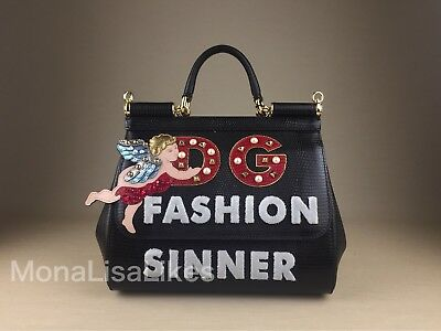57d0b58051d2 NEW DOLCE GABBANA Miss Sicily Medium Black Fashion Sinner Angel Embellished  Bag
