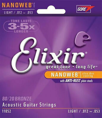 x5 Elixir 11052 Acoustic Guitar Strings Light 12-53 Nanoweb 80/20  | 5 sets pack