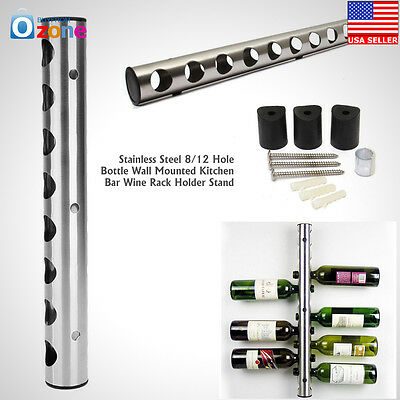 Wine Bottle Holder Rack 8 12 Hole Stainless Steel Wall Mounted Kitchen Bar Stand
