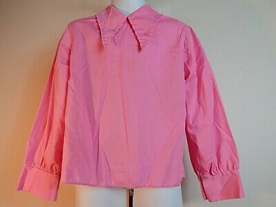 Vintage 1970s Miss Quality Pink Peasant Blouse Shirt Pointy Collar Hippy Girls