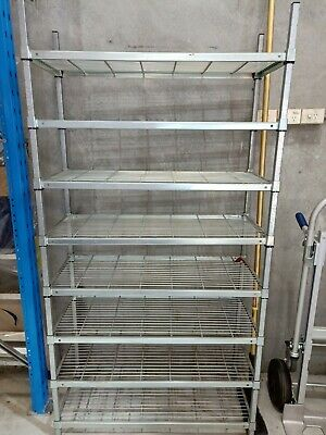 Mantova zinc coolroom shop shelving Approx 2m high x 103cm long, 45cm deep