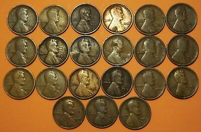 1909-1912P 1913PD 1914P 1915PD 1916-1919 P D S Lincoln Wheat Cent 21 Penny Run