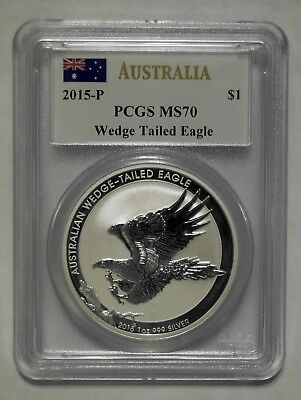 2015-P Australia Wedge Tailed Eagle 1 oz. .999 Silver PCGS MS70 Mercanti Signed