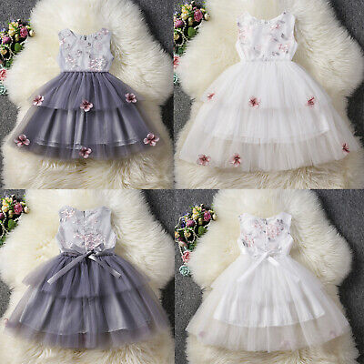 AU Stock Baby Girls Embroidery Flower Party Bridesmaid Pageant Tulle Tutu Dress