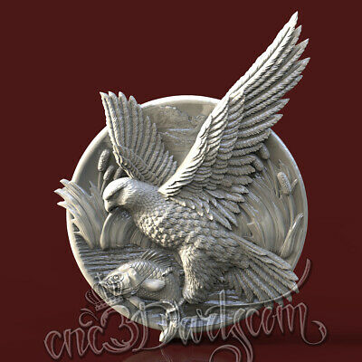 3D Model STL for CNC Router Artcam Aspire Hunting Eagle Fish Panel Cut3D Vcarve