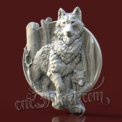 3D Model STL for CNC Router Artcam Aspire Hunting Wolf Wolfs Panel Cut3D Vcarve