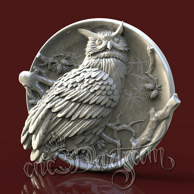 3D STL Model Hunting Owl Panel for CNC Router Carving Machine Artcam aspire