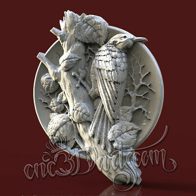 3D STL Model Hunting Raven Panel for CNC Router Carving Machine Artcam aspire