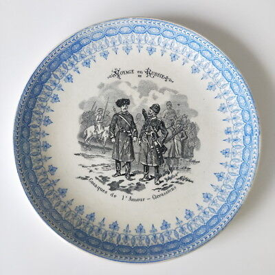 Voyage En Russie Antique Plate Highly Sought Cosaques De 1' Amour Cireassiens