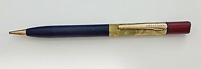 🌟 Sheaffers Vintage Mechanical Pencil (Working) Blue Ribbed Shaft Pearl Inset