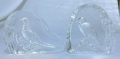 🌟 2 Clear Glass Bird Paperweights / Ornaments Pheasant & Falcon Flat One 1 Side