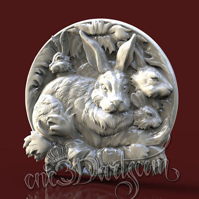 3D Model STL for CNC Router Artcam Aspire Rabbit Family Round Panel Cut3D Vcarve