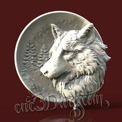 3D Model STL for CNC Router Artcam Aspire Wolf Forest Round Panel Cut3D Vcarve
