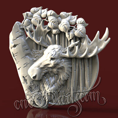 3D Model STL for CNC Router Artcam Aspire Hunting Moose Elk Panel Cut3D Vcarve