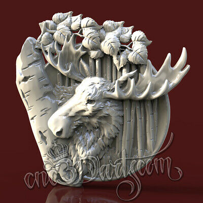 3D STL Model Hunting Moose for CNC Router Carving Machine Artcam aspire Cut3D