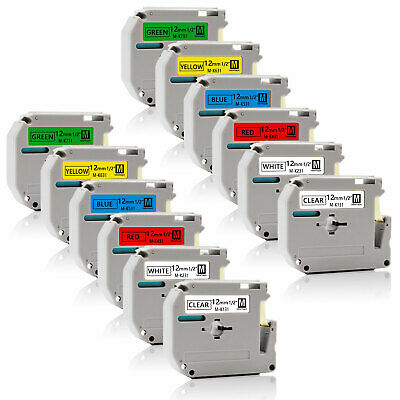 "12PK MK131-731 Multicolor 12mm 0.47"" P-Touch Label Tape Compatible Brother  PT90"
