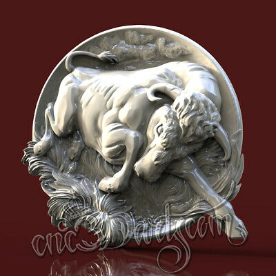 3D STL Model Buffalo Bull panel for CNC Router Carving Machine Artcam aspire