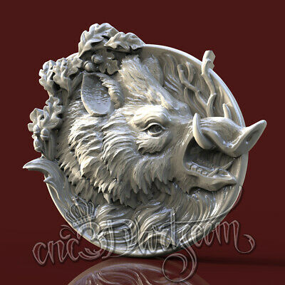 3D Model STL for CNC Router Artcam Aspire Hunting Boar Round Panel Cut3D Vcarve