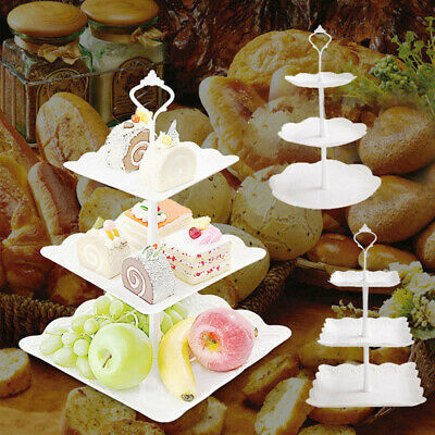 3 Tier Cake Stand Afternoon Tea Wedding Plates Party Tableware Embosse UK