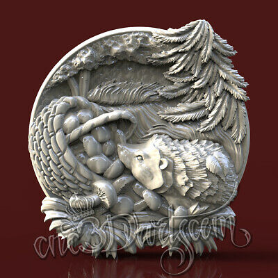 3D STL Model Forest Hedgehog panel for CNC Router Carving Machine Artcam aspire
