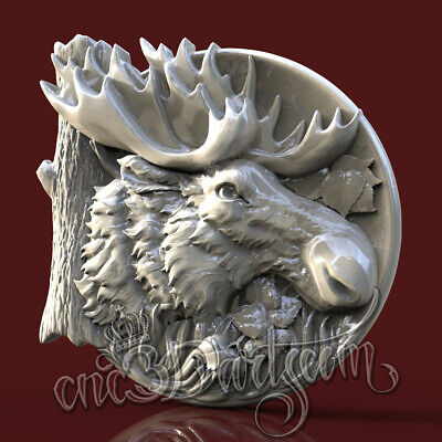 3D STL Model Hunting Deer Panel for CNC Router Carving Machine Artcam aspire