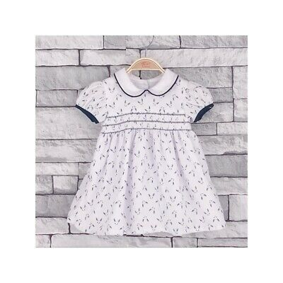 Baby Girls Pretty Spanish Style Traditional White Smocked Dress 6-24 Months