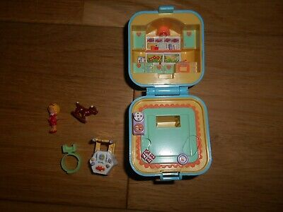 Vintage Polly Pocket Pollys Dinner Time Ring & Case Compact With Figure & Dog