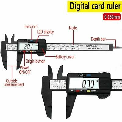 150mm 6 inch LCD Digital Electronic Carbon Fiber Vernier Caliper Gauge Tool