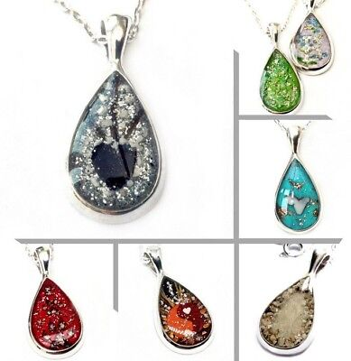 "solid stirling silver custom cremation jewellery ashes pear pendant +18"" chain"