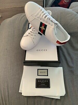 44f26c20136 GUCCI ACE BEE Embroidered Leather Trainers Brand New Size 10 ...