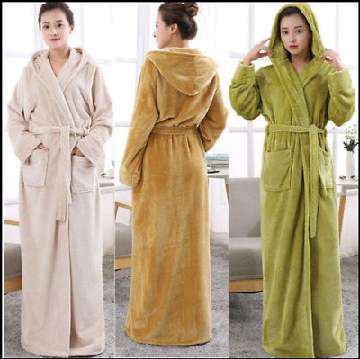 Hot LADIES Towelling Bath ROBE SOFT COSY LONG HOODED WINTER FLEECE DRESSING GOWN