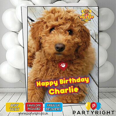 Personalised Waffle The Wonder Dog Birthday Card - Any Name / Wording (S2)