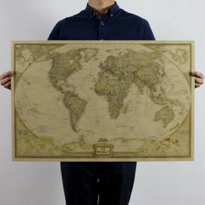 Cool Vintage Retro World Map Antique Paper Poster Wall Chart Home Bedroom Decor