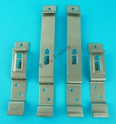 Pack of 4 Oblong & Square Number Plate Spring Clip Bracket Ifor Williams Trailer
