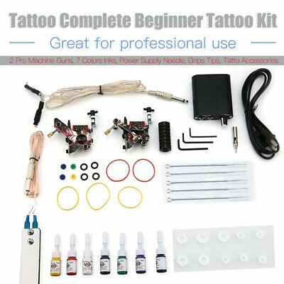 Complete Tattoo Kit needles 2 Machine Gun Power Supply 7 Color Ink Tip D175VD E⊥