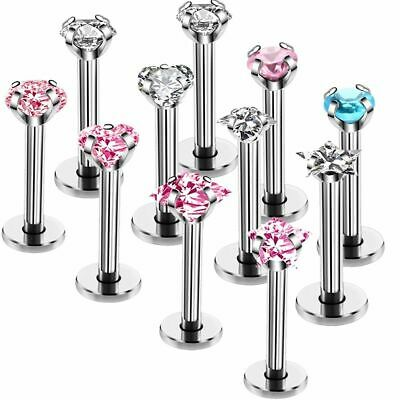 Jewelry Body Zircon Stainless Tragus Steel Bar Lip Cartilage Stud Nose Piercing
