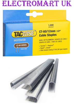 "Tacwise Ct60 12Mm 1/2"" Cable Tacker Staples 1000 Per Box Galvanised"