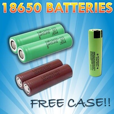 18650 Battery ✭FREE CASE✭ LG SAMSUNG PANASONIC Rechargeable 3400mah Li-ion Vape