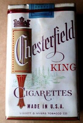 """1 VINTAGE ('60s-'70s) COLLECTIBLE CIGARETTE PACK - """"CHESTERFIELD"""" (KING) - EMPTY"""
