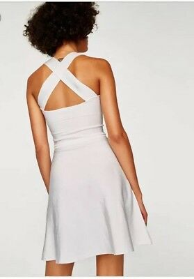 New Zara Knit White Stretch 90 s Style Dress Cross Back S 8 - Flaw See Photo d1291d7e4