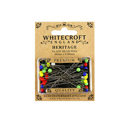 Whitecroft Heritage Glass Head Pins 48mm x 0.80mm 89211