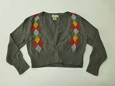 Arizona Sweater Girls Size Small Grey Red Yellow Argyle Sweater Great Condition
