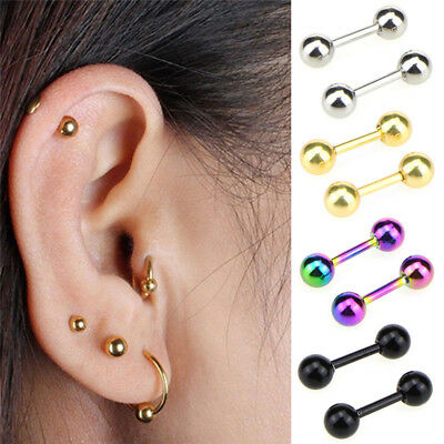 Stainless Steel Barbell Ear Cartilage Tragus Helix Stud Bar Earrings Piercing EO