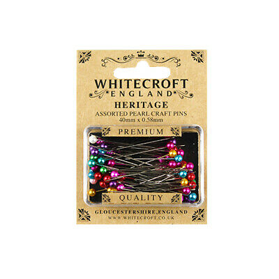 Whitecroft Heritage Pearl Head Assorted Craft Pins 40 mm x 0.58 mm 89271