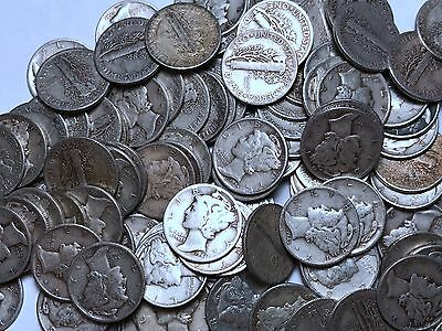 90% Silver Mercury Dimes - One Roll of 50 - $5 Face 90% Silver FREE SHIPPING!